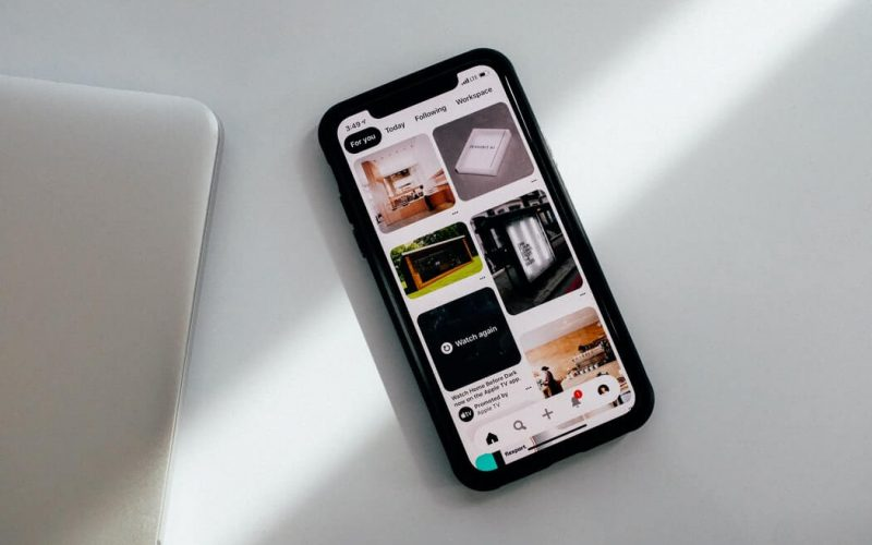 The Pinterest app open on a smartphone