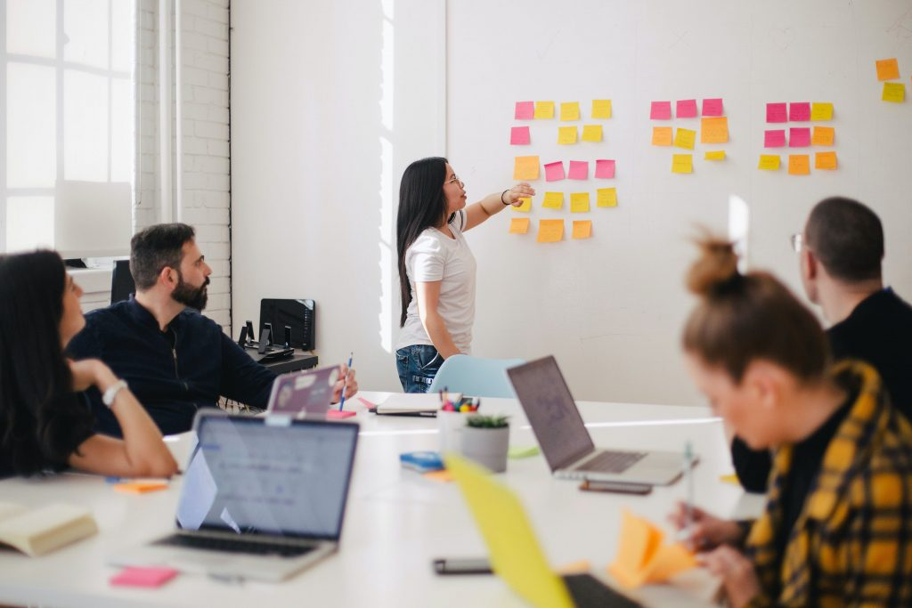 Office presentation using sticky notes as a idea tool